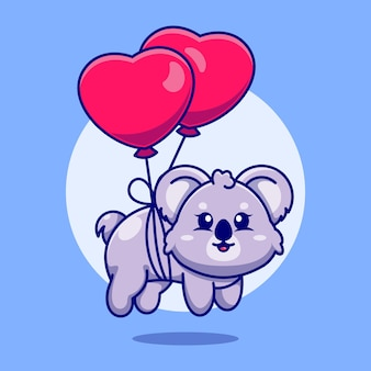 Słodka koala dla dzieci pływająca z balonem w kształcie serca