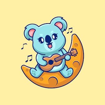 Słodka koala gra na gitarze na księżycu
