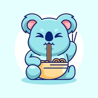 Słodka koala je kreskówka makaron ramen