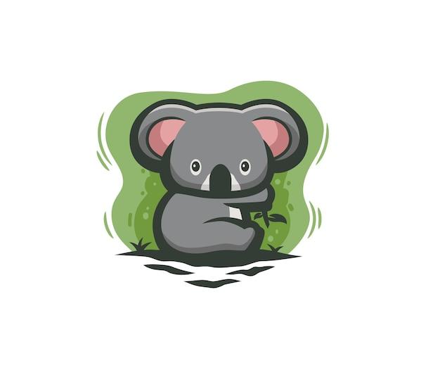 Słodka koala jedząca ilustracja eukaliptusa