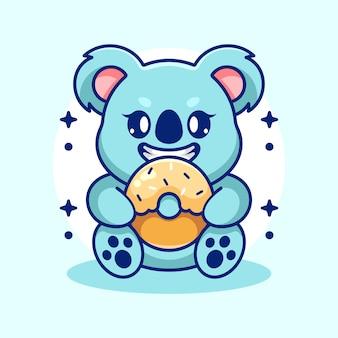 Słodka koala jedząca kreskówka pączka