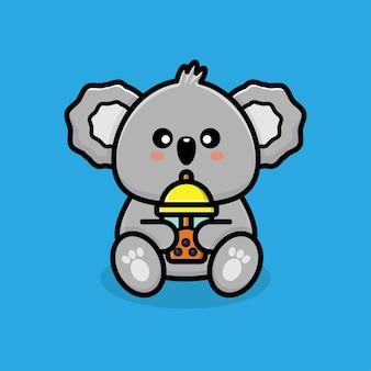 Słodka koala pijąca herbatę boba
