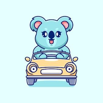 Słodka koala prowadząca kreskówkę samochodu