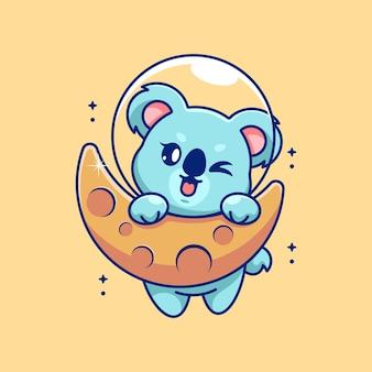 Słodka koala wisząca na kreskówce księżyca