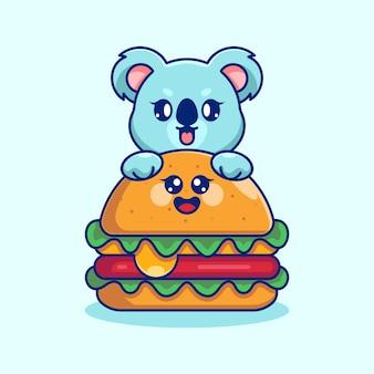 Słodka koala z dużą kreskówką z serowym burgerem