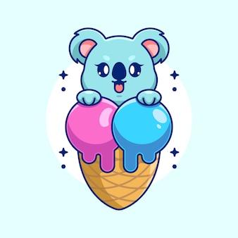 Słodka Koala Z Kreskówką W Kształcie Rożka Lodów Premium Wektorów