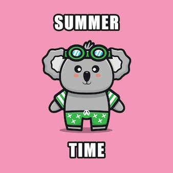 Słodka koala z letnią ilustracją tematu zwierząt koncepcja lato