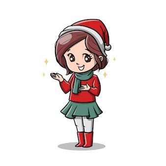 Słodka kobieta w kreskówce na boże narodzenie