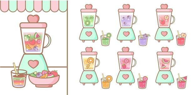 Słodka kolekcja blendera soki owocowe