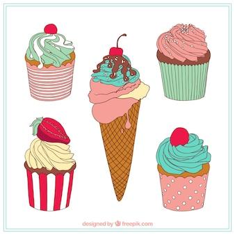 Słodka kolekcja deserów w stylu wyciągnąć rękę