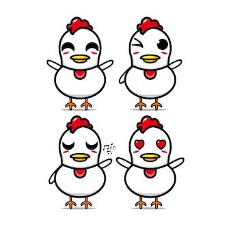 Słodka kolekcja kurczaka zestaw ilustracji wektorowych kurczak maskotka charakter płaski kreskówka