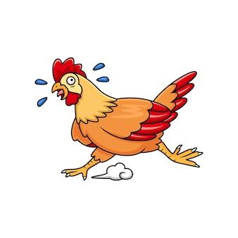 Słodka kreskówka biegnącego kurczaka