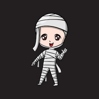 Słodka kreskówka halloweenowa mumia