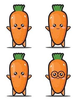 Słodka kreskówka marchewka z warzywami kawaii premium