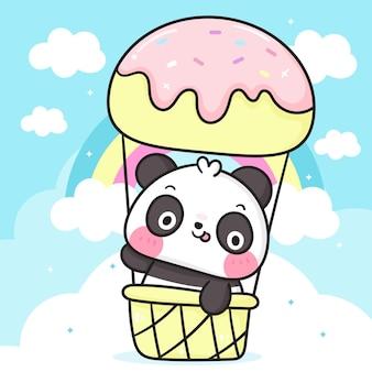 Słodka kreskówka miś panda w balonie z lodami z pastelowymi tęczowymi zwierzętami kawaii