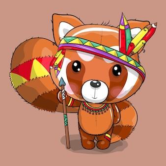 Słodka kreskówka panda w kostiumie boho