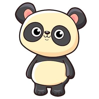 Słodka kreskówka pandy. ilustracja wektorowa clipartów panda