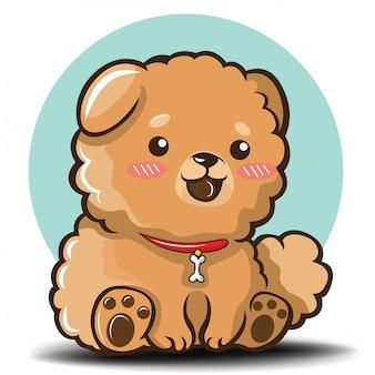 Słodka kreskówka pies chowchow