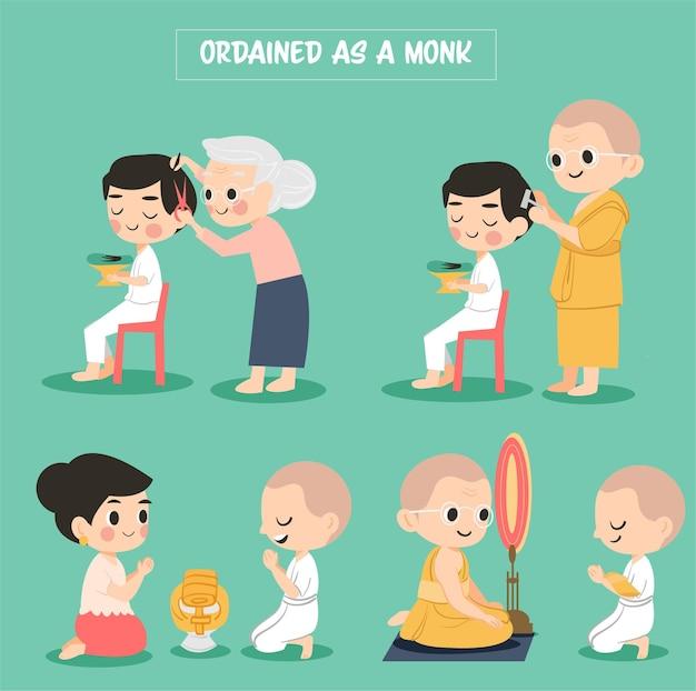 Słodka kreskówka przedstawia sposób wyświęcania na mnicha w religii buddyzmu