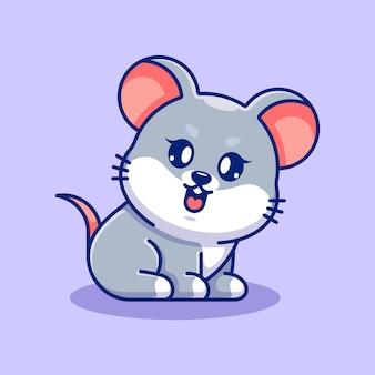 Słodka Kreskówka Siedząca Myszka Dla Dzieci Premium Wektorów