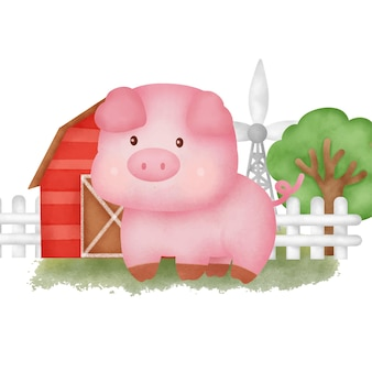 Słodka kreskówka świnia na farmie