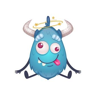 Słodka kreskówkowa istota w niebieskim kolorze z rogami czuje zawroty głowy ilustracja