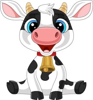 Słodka krowa kreskówka siedzi