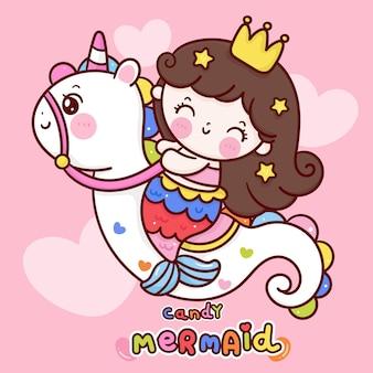 Słodka księżniczka syrenka logo jeździć jednorożec konik morski kawaii zwierząt