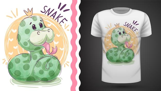 Słodka księżniczka wąż - pomysł na koszulkę z nadrukiem