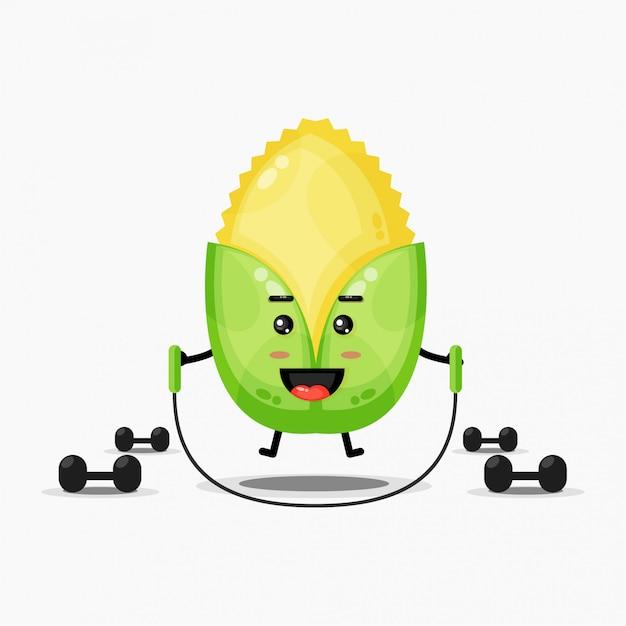 Słodka kukurydza ćwiczy skakanie