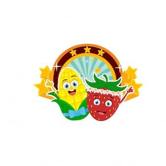 Słodka kukurydza i truskawka maskotka