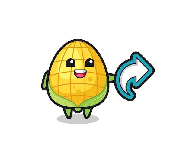 Słodka kukurydza przytrzymaj symbol udostępniania mediów społecznościowych, ładny styl dla t shirt, naklejki, elementu logo
