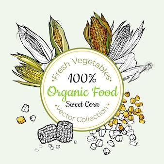 Słodka kukurydza warzyw artykuły spożywcze vintage etykieta