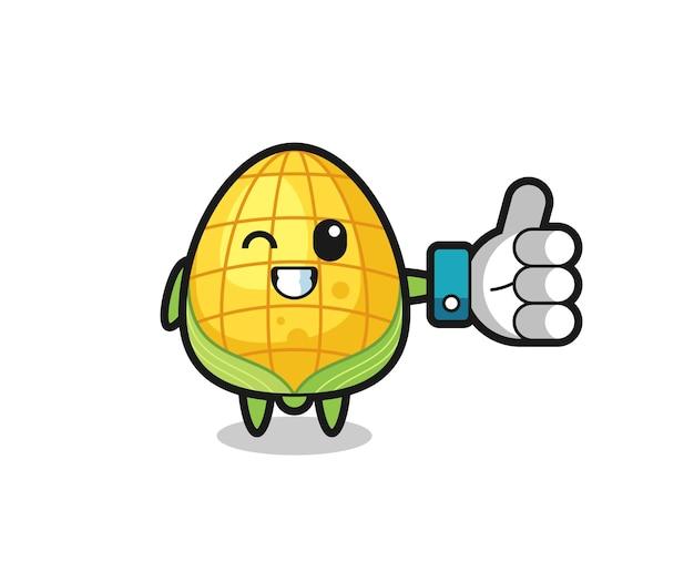 Słodka kukurydza z symbolem kciuka w górę, ładny styl dla t shirt, naklejki, element logo