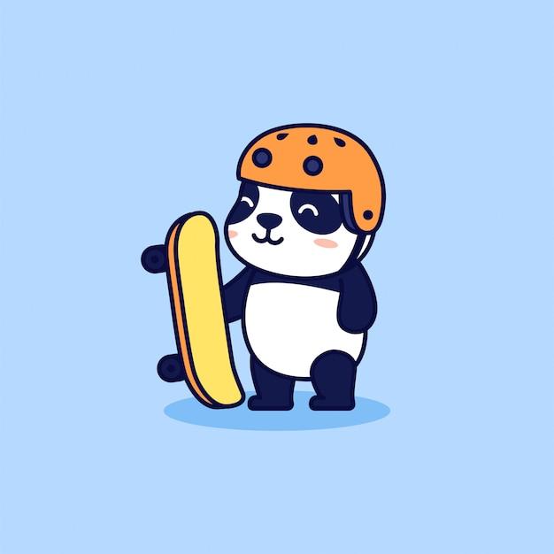 Słodka łyżwiarz panda