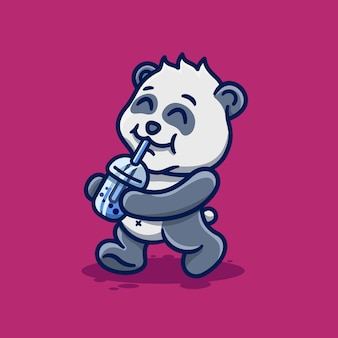 Słodka mała panda pijąca boba kreskówka kawaii