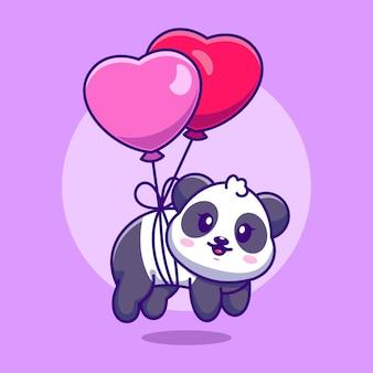 Słodka mała panda pływająca z balonem w kształcie serca