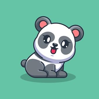Słodka mała panda siedząca kreskówka