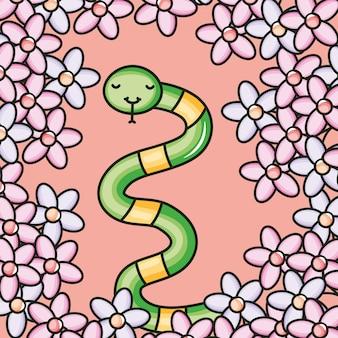 Słodka mała postać węża kawaii