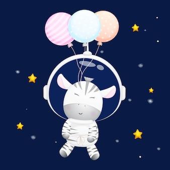 Słodka mała zebra nosząca kask astronauty kreskówka zwierząt