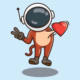 Słodka małpa astronauta kreskówka latająca w miłości wektor wzór