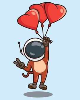 Słodka małpa astronauta kreskówka latająca z miłością balon wektor wzór