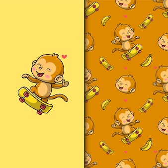 Słodka małpa gra na deskorolce. wzór.