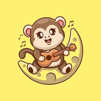 Słodka małpa grająca na gitarze na księżycu