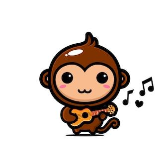 Słodka małpa grająca na ukulele