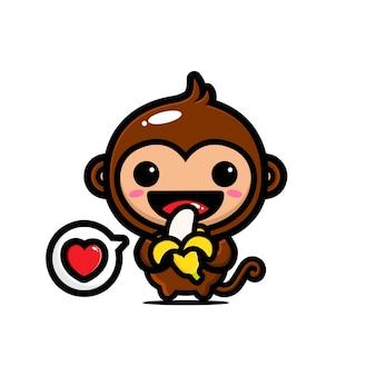 Słodka małpa je banana pełnego miłości