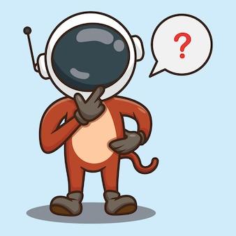 Słodka małpa kreskówka noszenie astronautów hełm projekt wektor