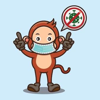 Słodka małpa nosząca maskę na twarz projekt antywirusowy