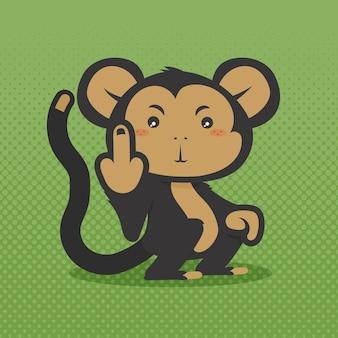 Słodka małpa pokazująca symbol fuck you