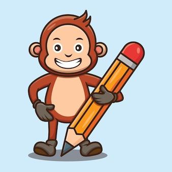 Słodka małpa trzymająca wzór ołówka